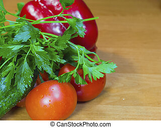 Fresh vegetables on the wood table