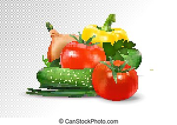 Fresh vegetables on transparent background. Tomatoes, cucumbers, pepper and onion composition. Realistic vector, 3d illustration