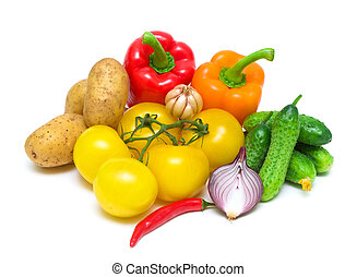 fresh vegetables on white background close-up