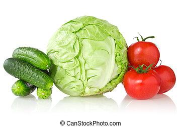 fresh vegetables on white background