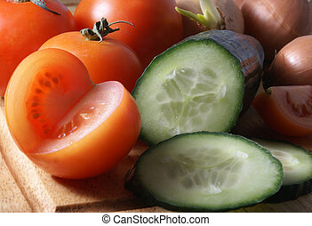 Fresh vegetables on wooden board