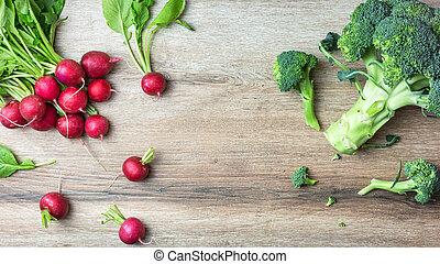 Fresh vegetables on wooden table
