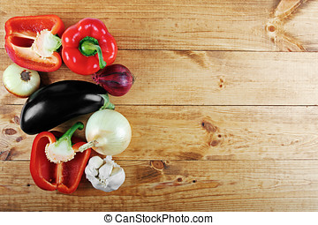 fresh vegetables on wooden table from above with copy space