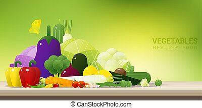 Fresh vegetables on wooden table, healthy food background