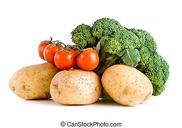 Fresh vegetables over white