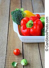 fresh vegetables, peppers, broccoli gratin dish