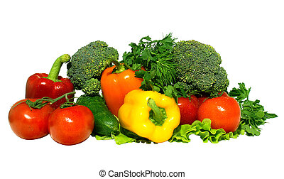 fresh vegetables - Different fresh tasty vegetables isolated...