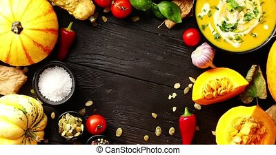 Fresh vegetables placed in circle - From above view of...