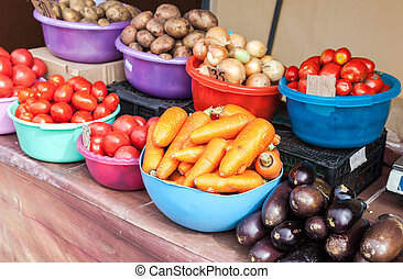 Fresh vegetables ready to sale at the farmers market