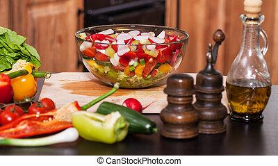 Fresh vegetables salad in a bowl