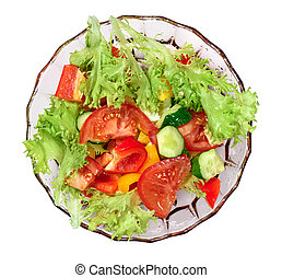Fresh vegetables salad isolated. Top view