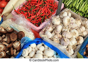 fresh vegetables selling at vegetable market
