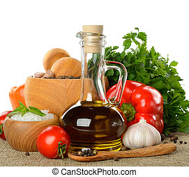 Fresh vegetables, spices and olive oil