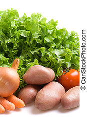 Fresh vegetables - Various fresh vegetables on a white...