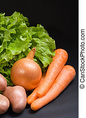 Fresh vegetables - Various fresh vegetables on a dark ...