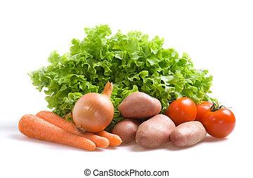 Fresh vegetables - Various fresh vegetables on a white...