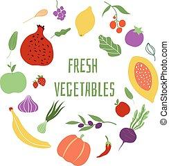 Fresh vegetables. Vegetable logo healthy food shop eco organic meal vector frame