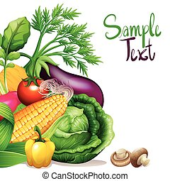 Fresh vegetables with sample text space