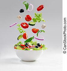 Fresh vegetarian salad on the plate