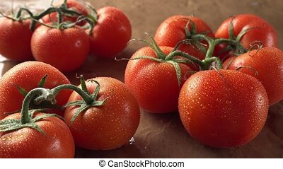 Fresh Vine Tomatoes - Freshly picked ripe tomatoes with the...