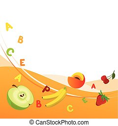 Combined illustration of fruit background with the vitamins