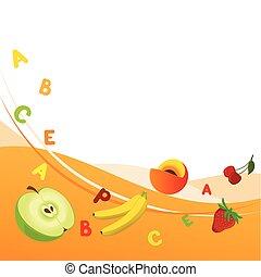Fresh vitamins - Combined illustration of fruit background...