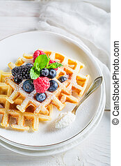 Fresh waffels with berry fruits and mint leaves