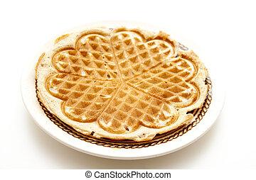 Fresh waffle   - Fresh waffle on porcelain plate
