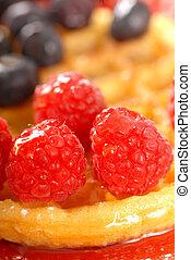 Fresh waffle with fruit