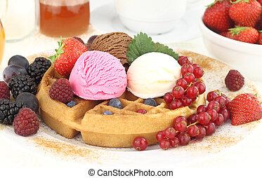 Fresh Waffle with ice cream