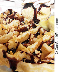 Fresh waffles with ice cream