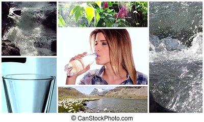 fresh water collage - beautiful girl drinking fresh water