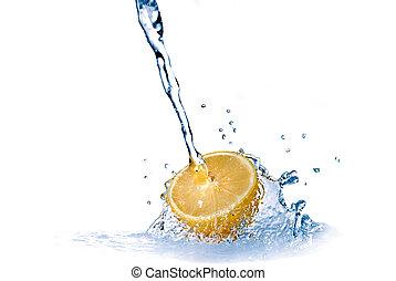 fresh water drops on lemon isolated on white