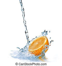 fresh water drops on orange isolated on white