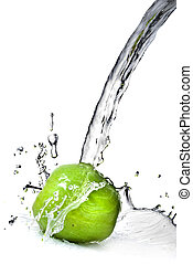 fresh water splash on green apple isolated on white