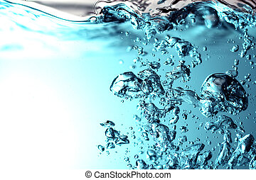 Fresh Water With Bubbles - a blue fresh water with bubbles...