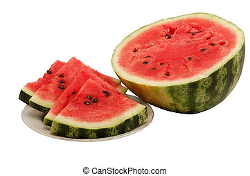 Fresh Watermelon - Fresh and juicy watermelon isolated over...