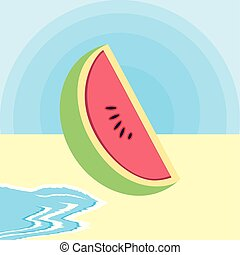 fresh watermelon fruit in the beach