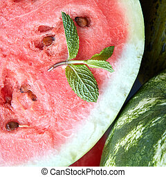 fresh watermelon with mint leaf.