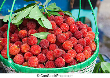 Fresh waxberry in the basket - Heap of fresh waxberry in the...