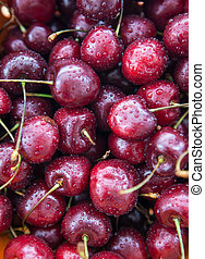 Fresh wet cherries, close up, top view - Fresh wet cherries,...