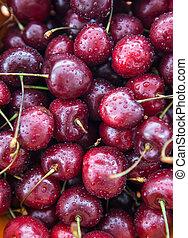 Fresh wet cherries, close up, top view - Fresh wet cherries,...