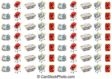 Fresh white eggs, ripe red tomatoes, mixed euro and dollar bills in shopping baskets, carts. Isolated on white background. Seamless pattern. Website background. Tomato, eggs trading, shopping concept