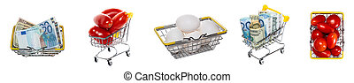 Fresh white eggs, ripe red tomatoes, mixed euro and dollar bills in shopping baskets, carts. Isolated on white background. High angle, top views. Tomato, eggs trading, shopping concepts. Banner size