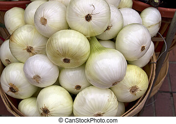 Fresh White Onions in Basket at Farmers Market