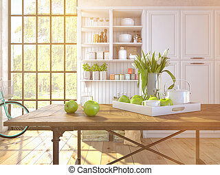 fresh white tulips on kitchen background. 3d rendering