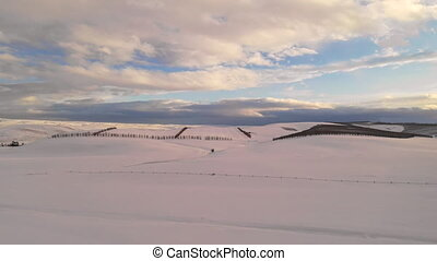Fresh White Winter Snow Oregon State Agricultural Land -...