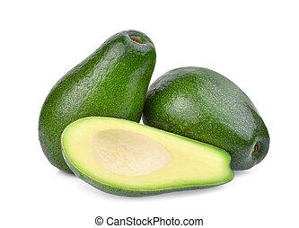 fresh whole and half avocado isolated on white background