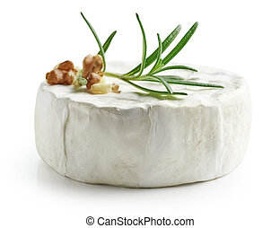 fresh whole brie cheese isolated on white background