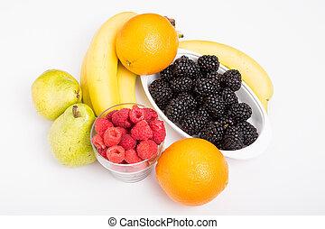 Fresh, whole fruit on a white background.